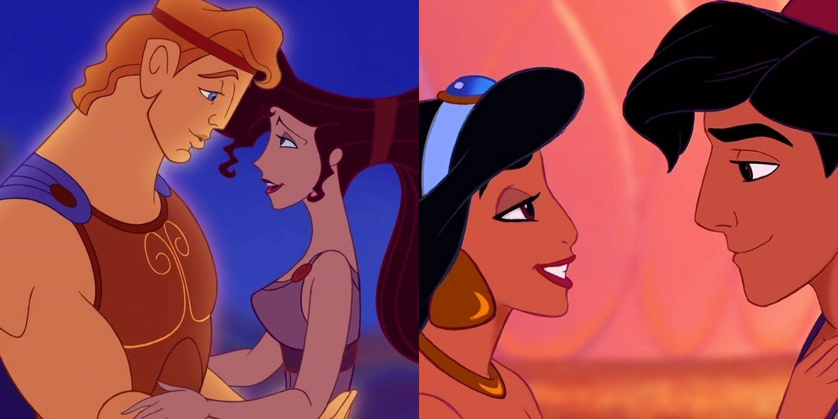 On the left, Hercules and Megara embracing. On the right, Jasmine and Aladdin looking into each others' eyes.