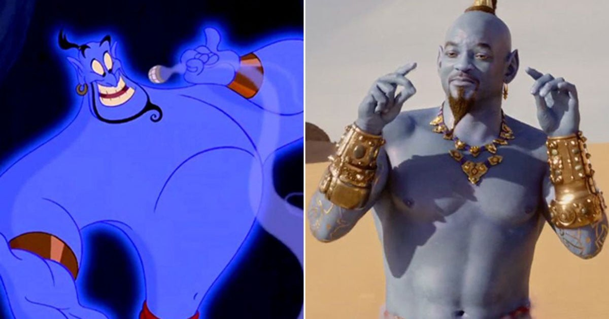 On the left, the original animated Genie. On the right, Will Smith as the Genie in the remake.