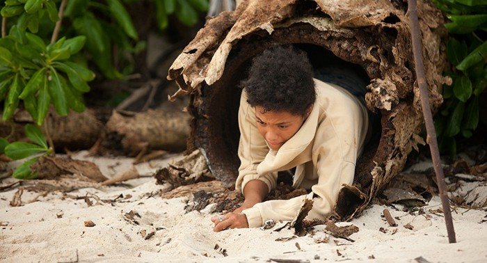 Jenn sleeps in a tree trunk to hide from the island's monster…the one that's not her dumb boyfriend or his dumb friend.
