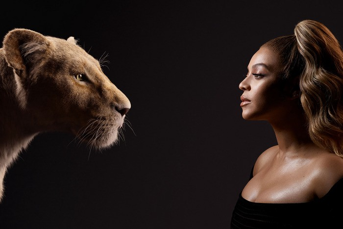 An image of a lion juxtaposed with Beyonce