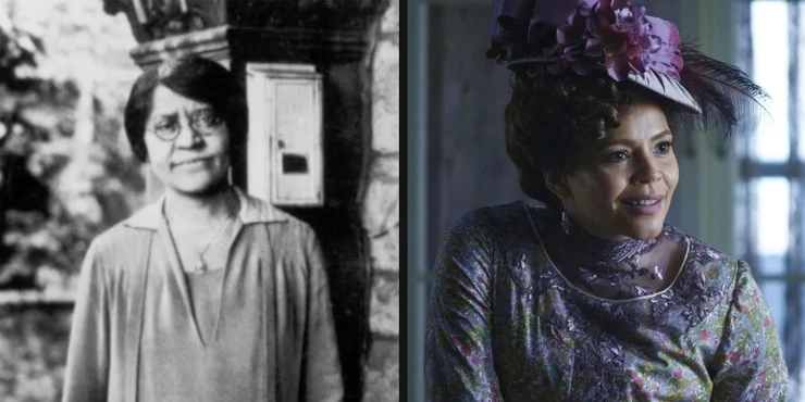 """Annie Turnbo Malone on the left. Carmen Ejogo portraying fictional """"Addie Munroe"""" on the right."""