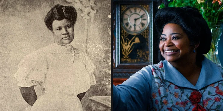 Madam CJ Walker on the left, and Octavia Spencer portraying her on the right.