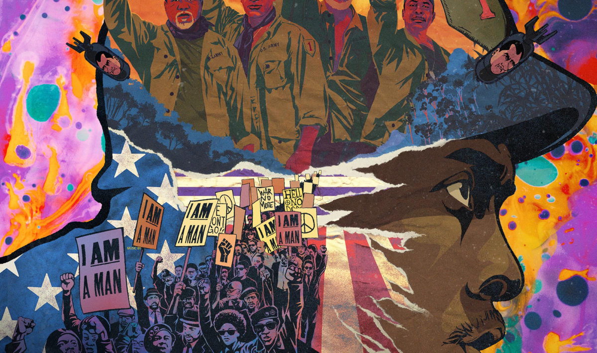 """The cover for Da 5 Blood's soundtrack. Norman (Chadwick Boseman) is drawn in a pop art style. The film's four veterans are superimposed over Norman's helmet, fists raised in the Black Power salute. To Norman's left, a group of Black protestors carry signs reading """"I AM A MAN"""""""