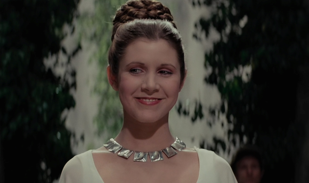 """Leia smiles at the medal ceremony in """"A New Hope"""""""