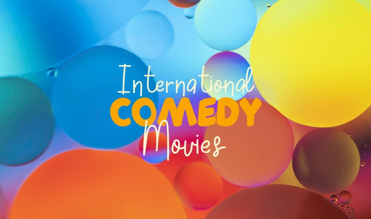 """Text reading """"International Comedy Movies"""" against a colorful background"""