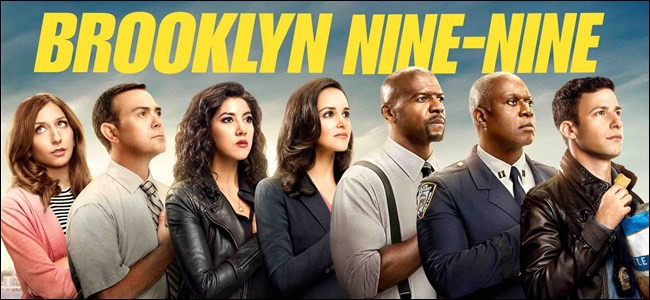 A promotional poster showing the main cast of Brooklyn Nine-Nine