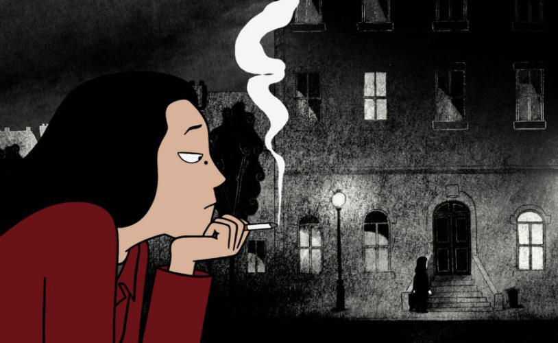 Adult Marjane, drawn in color, smokes a cigarette against the backdrop of a black-and-white cityscape.