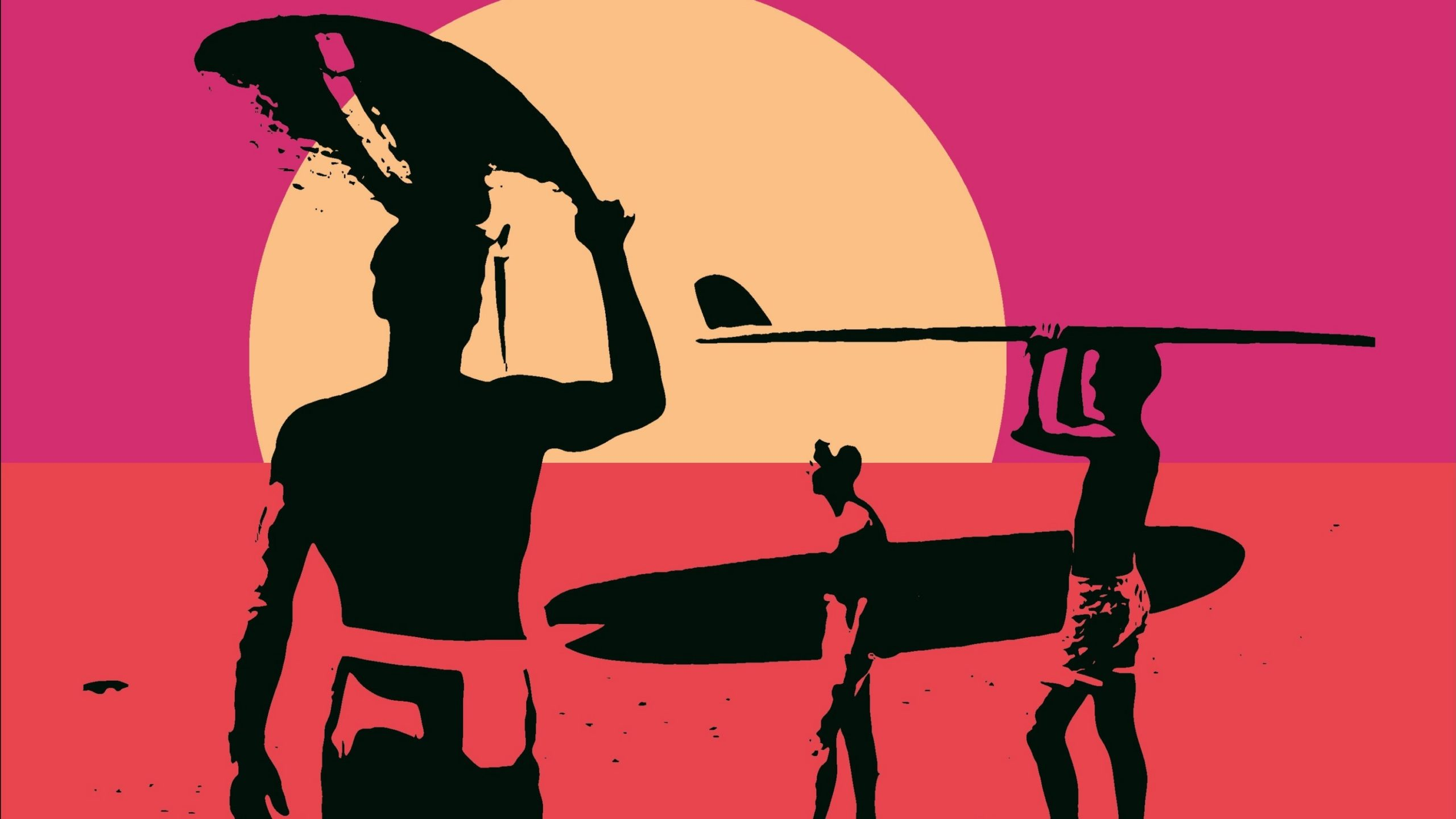 A pop-art style poster depicting three men carrying surfboards.