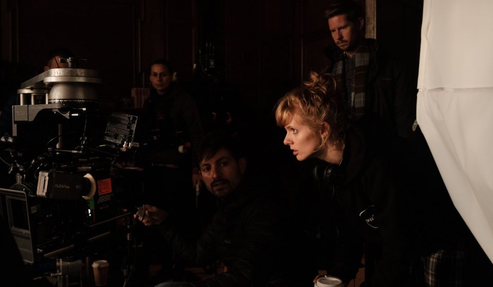 Rose Glass (right) directing behind the scenes