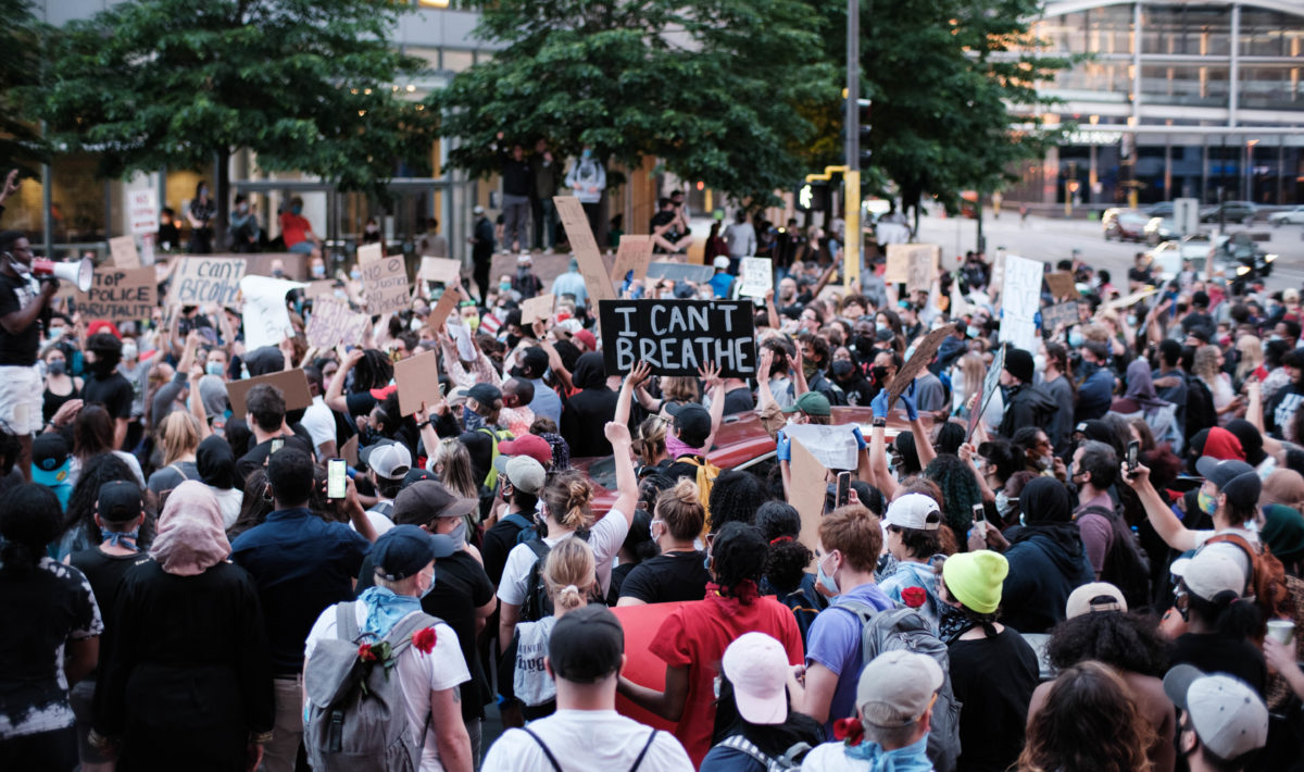 A large crowd in Minneapolis protesting the killing of George Floyd