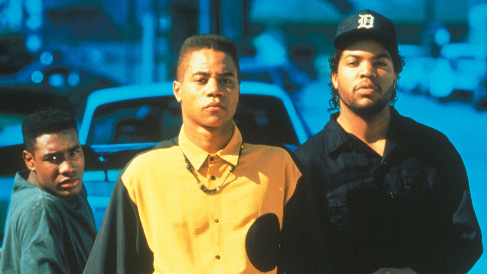 The image used on the promotional poster for Boyz n the Hood. From left to right: Morris Chestnut as Ricky, Cuba Gooding Jr. as Tre, and Ice Cube as Darren