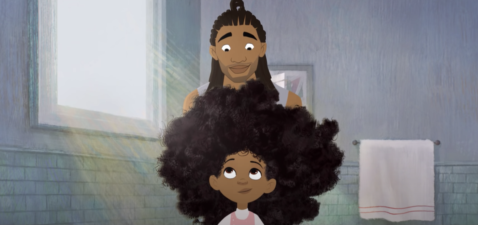 A Black man with shoulder-length locks smiles down at his daughter, a young Black girl with unstyled natural hair.