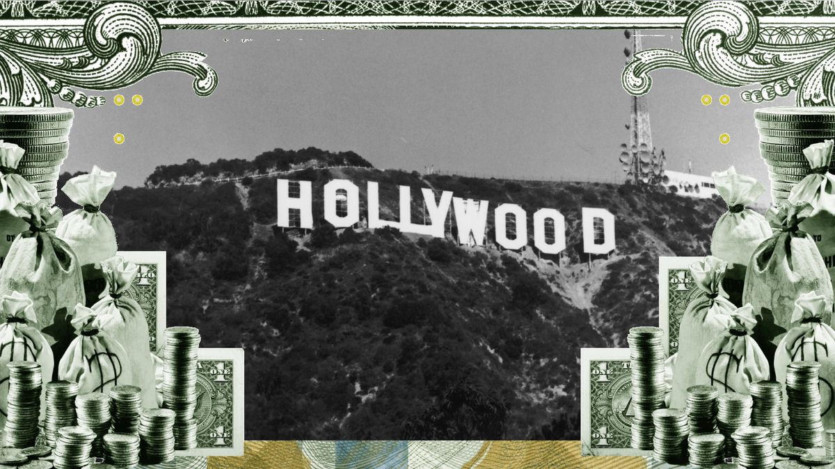 A black-and white photo of the Hollywood sign, framed by stacks of money.