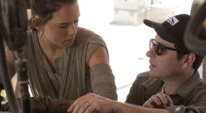 Daisy Ridley (Rey) and director J.J. Abrams on the set of The Force Awakens (2015)