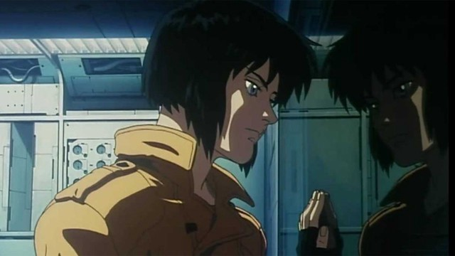 """Image from Japanese Anime """"Ghost in the Shell"""" of a character looking at their reflection in a window with their hand on the glass"""