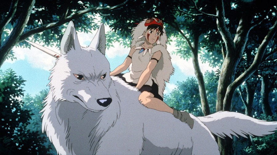 """Image from Japanese Anime """"Princess Mononoke"""" of a character riding a white wolf"""