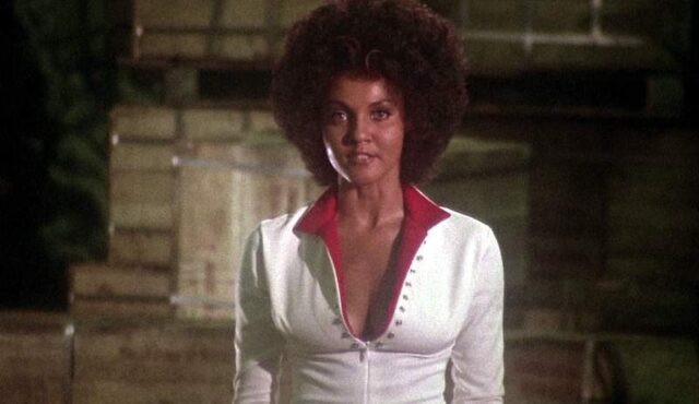 """Marki Bey as Diana """"Sugar Hill."""" She's a Black woman with an afro wearing a white jumpsuit."""