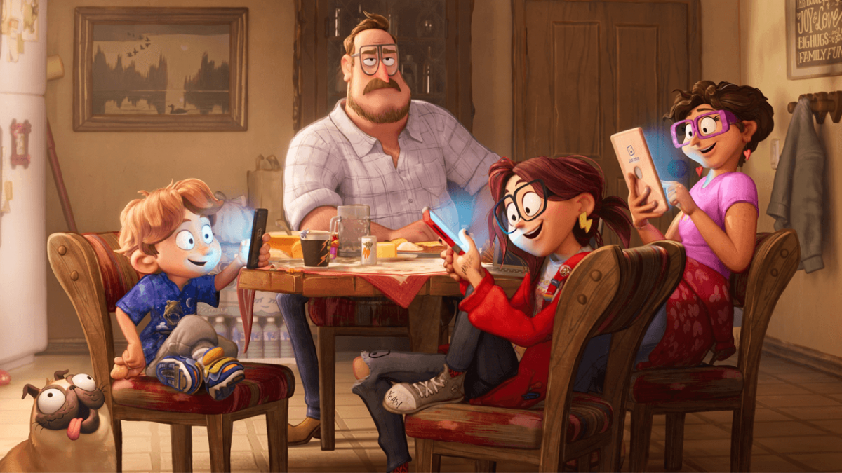 """The Mitchell family at the dinner table in """"The Mitchells vs. The Machines"""""""