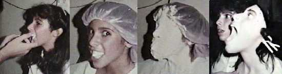 Felissa Rose making the mold of Angela's face to put on a man's body