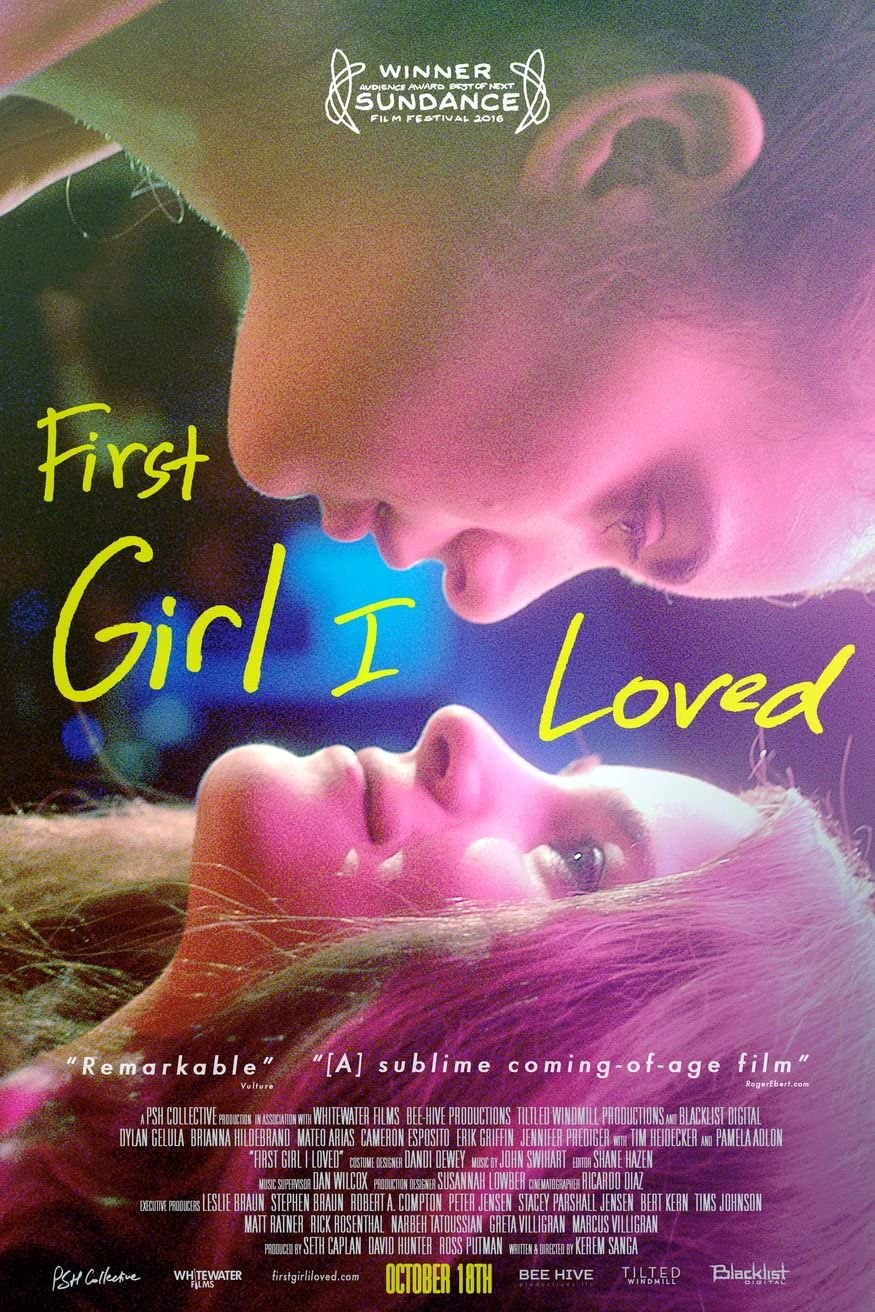 """Poster for """"First Girl I Loved"""". Anne and Sasha look at one another longingly with pink lighting"""