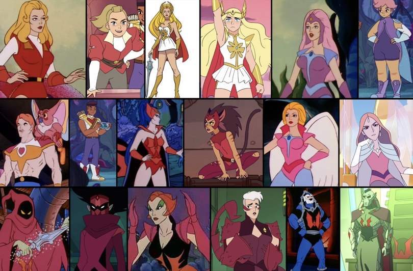 An example of comparison on how the character designs have changed, the originals to the left and their newer counterparts to the right.
