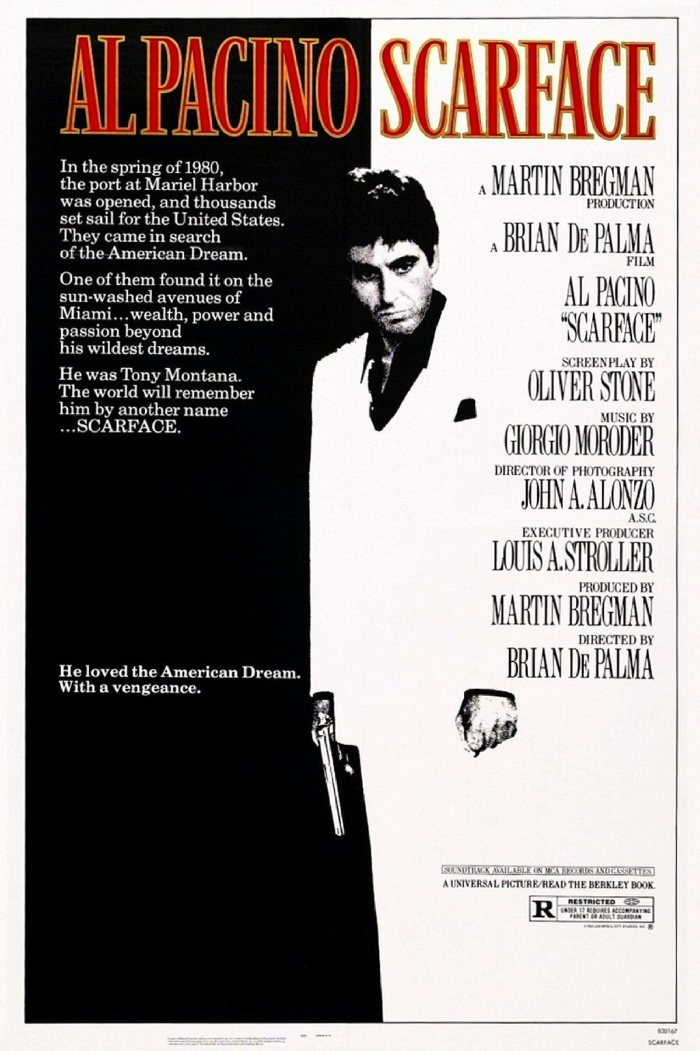 """Poster for """"Scarface."""" Al Pacino stands in the center, and the image is black and white with bright red text."""