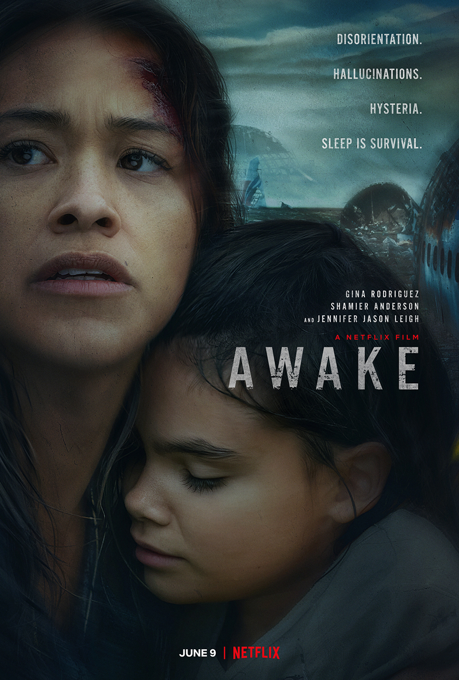 """Poster for """"Awake"""". Gina Rodriguez as Jill clutches her daughter Matilda to her chest."""