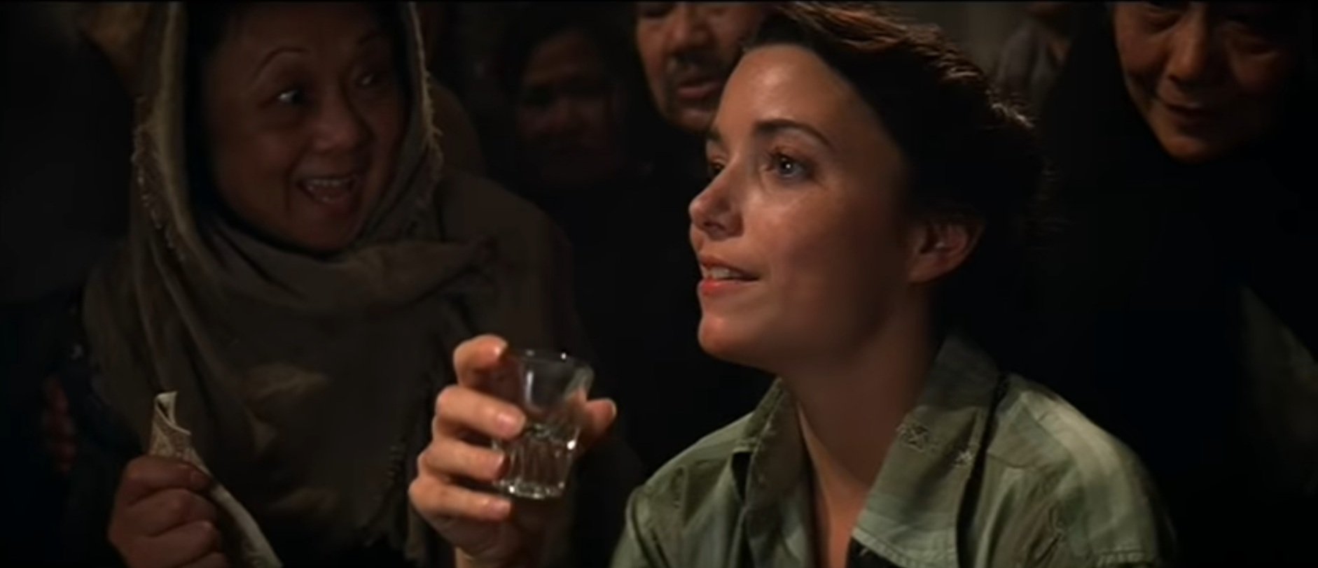 Marion (Karen Allen) drinks one of her Nepalese patrons under the table.