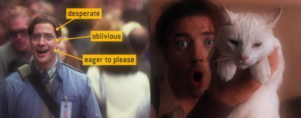 Brendan Fraser in Bedazzled (2000) and The Mummy (1999)