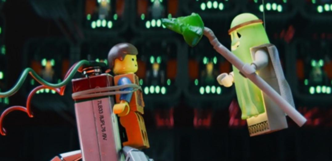 A still from the movie showing ghost Vitruvius and Emmet