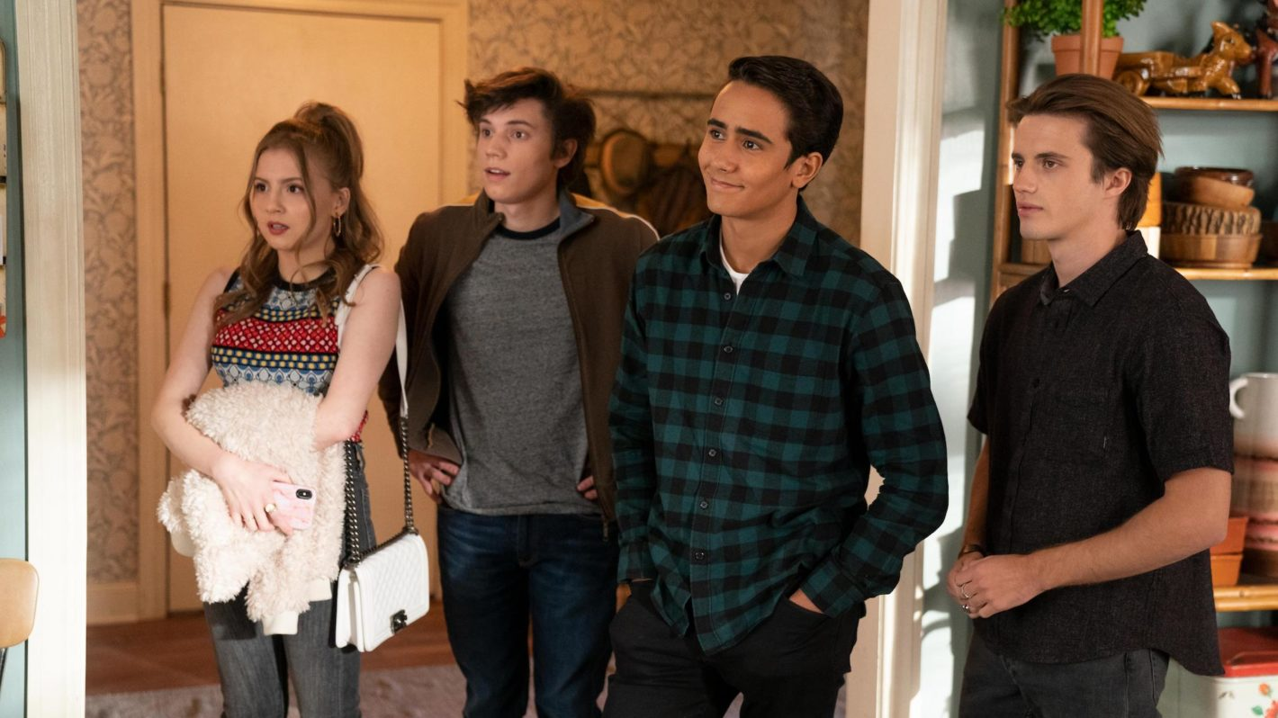 A still of Victor, Benji, Felix, and Lake at Victor's house