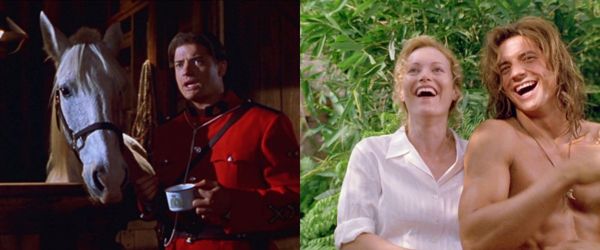 Brendan Fraser in Dudley Do-Right (1999) & George of the Jungle (1997) with Leslie Mann