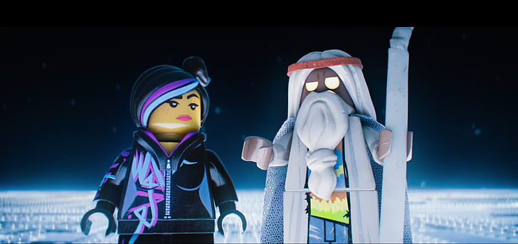 A still featuring Vitruvius and WyldStyle judging Emmet