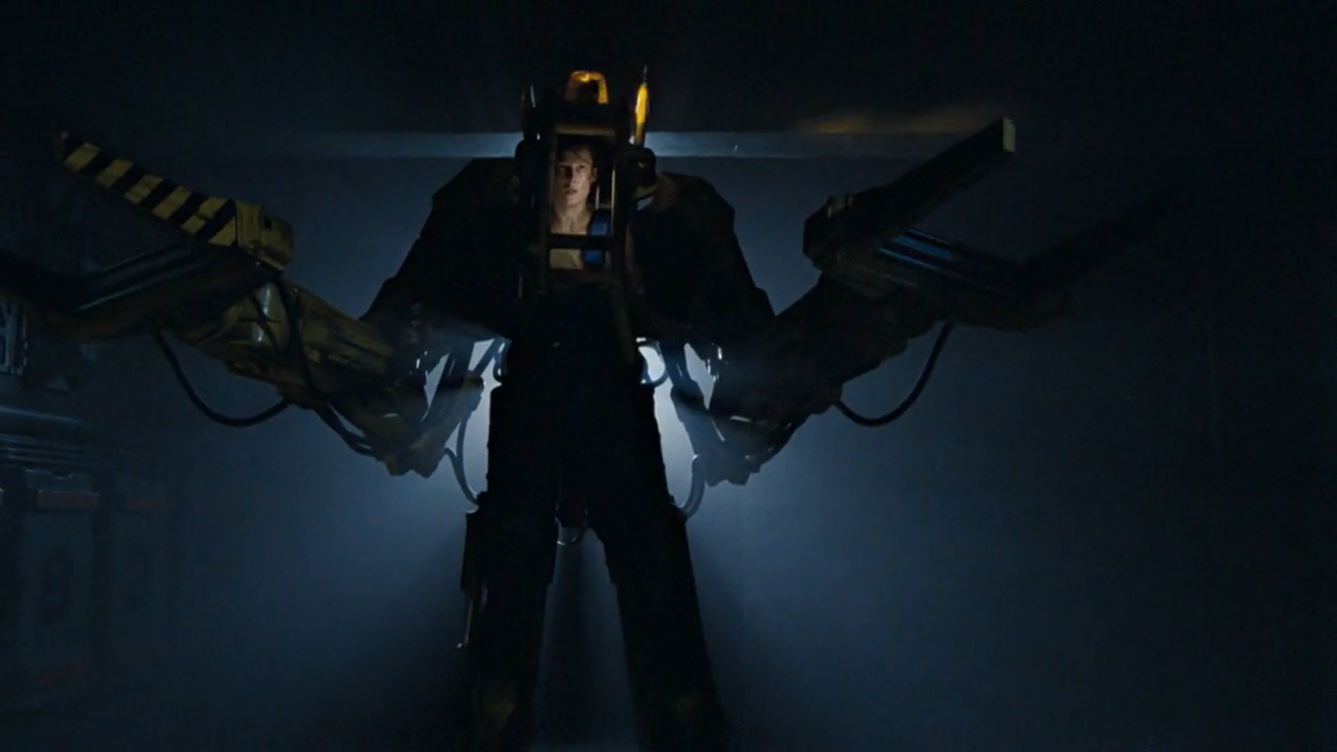 Ripley mans the ship's exosuit during her final confrontation with the Xenomorph Queen.