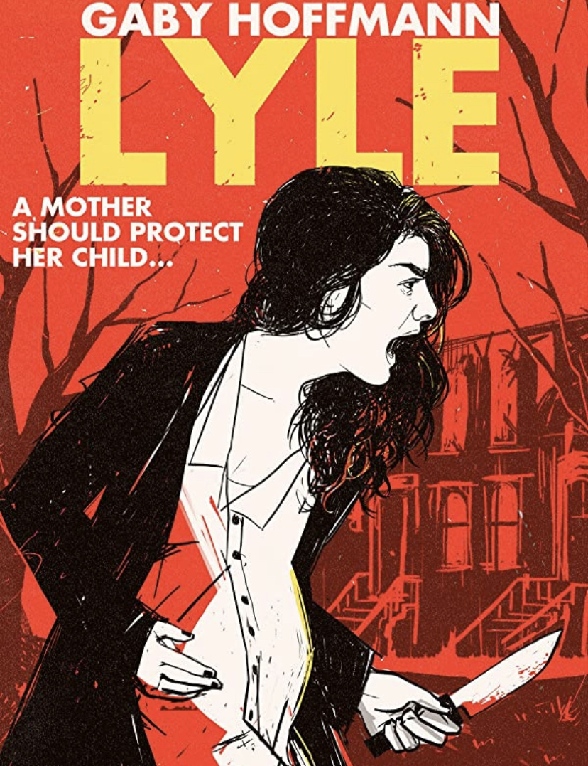 An illustrated poster for 'Lyle'. Leah screams, protectively holding her stomach with one hand, and a knife in the other.