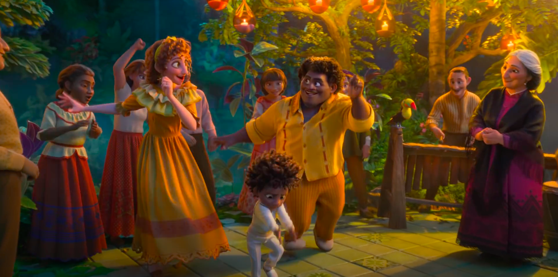 Unnamed characters dance to the music in the Encanto trailer
