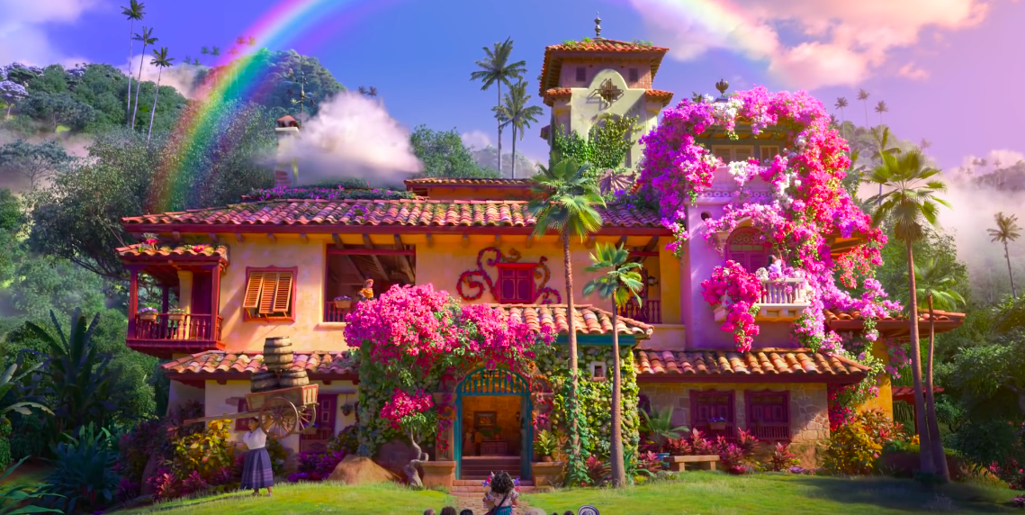An image from the Encanto trailer of the Madrigal's magical house