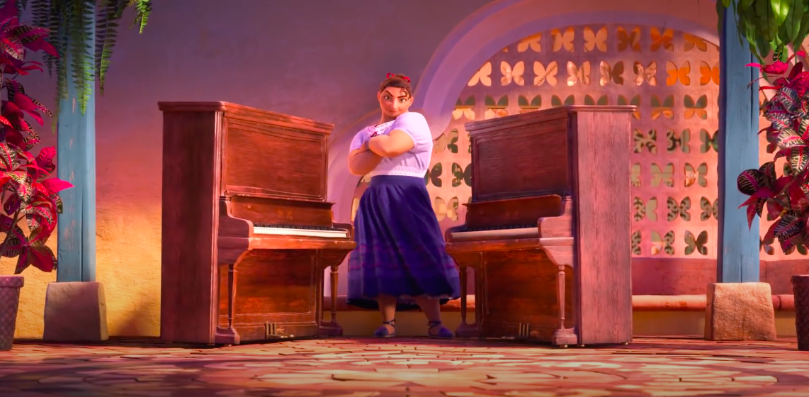 An image from the Encanto trailer, featuring the buff lady called Luisa