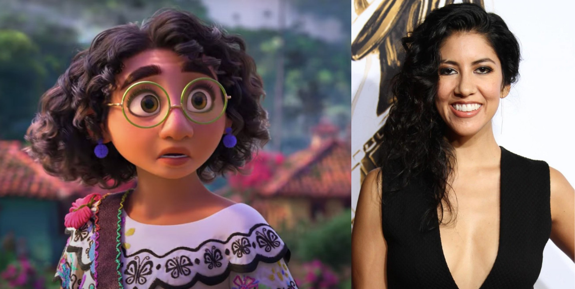 An image of Stephanie Beatriz next to Mirabel from Encanto, the character she voices