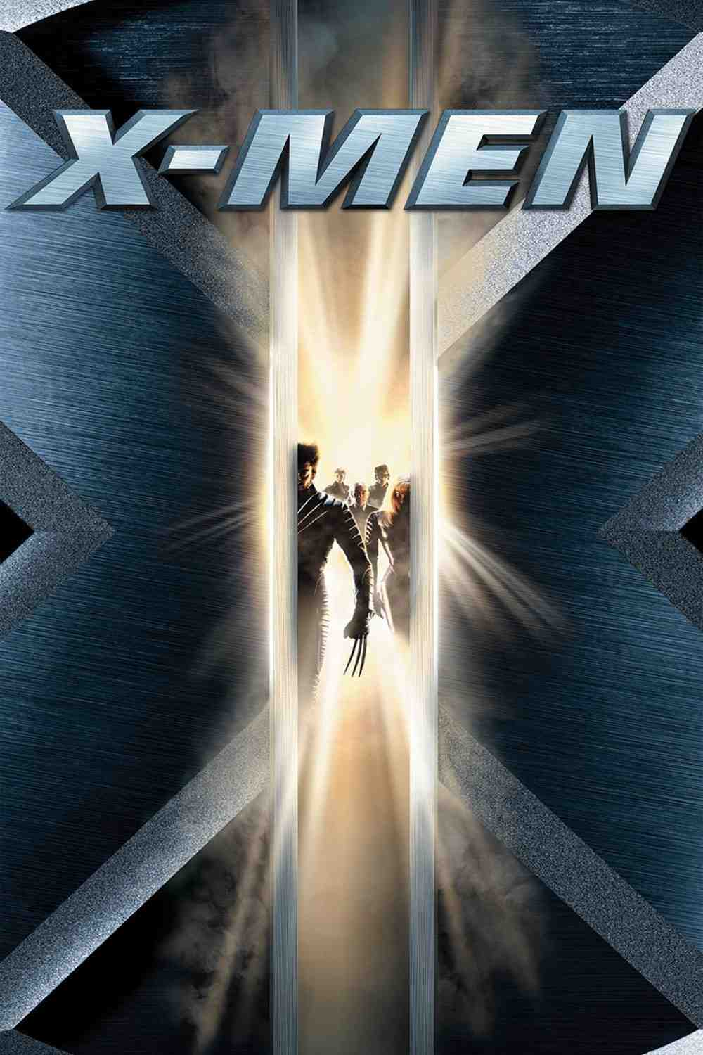 A poster reading X-Men at the top, with silhouettes framed by a large X