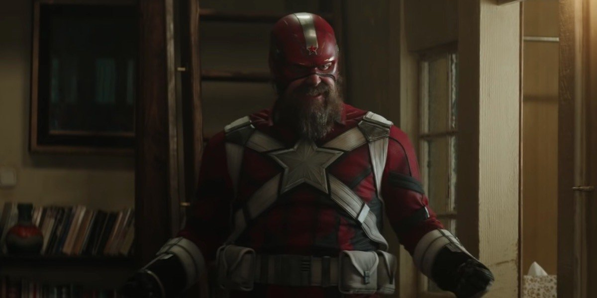 """A still from """"Black Widow"""" showing Alexei in his Red Guardian costume"""