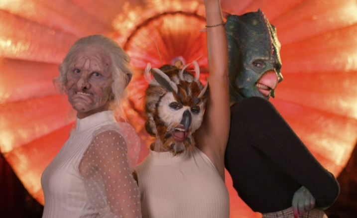 Contestant Karrisa (dressed up as a troll) pictured on the left. Contestant Gabi pictured front and center (dressed up as an owl). Contestant Bella (dressed up as a triceratops) pictured on the right. Out of the three, Karissa's makeup job is far less appealing visually.