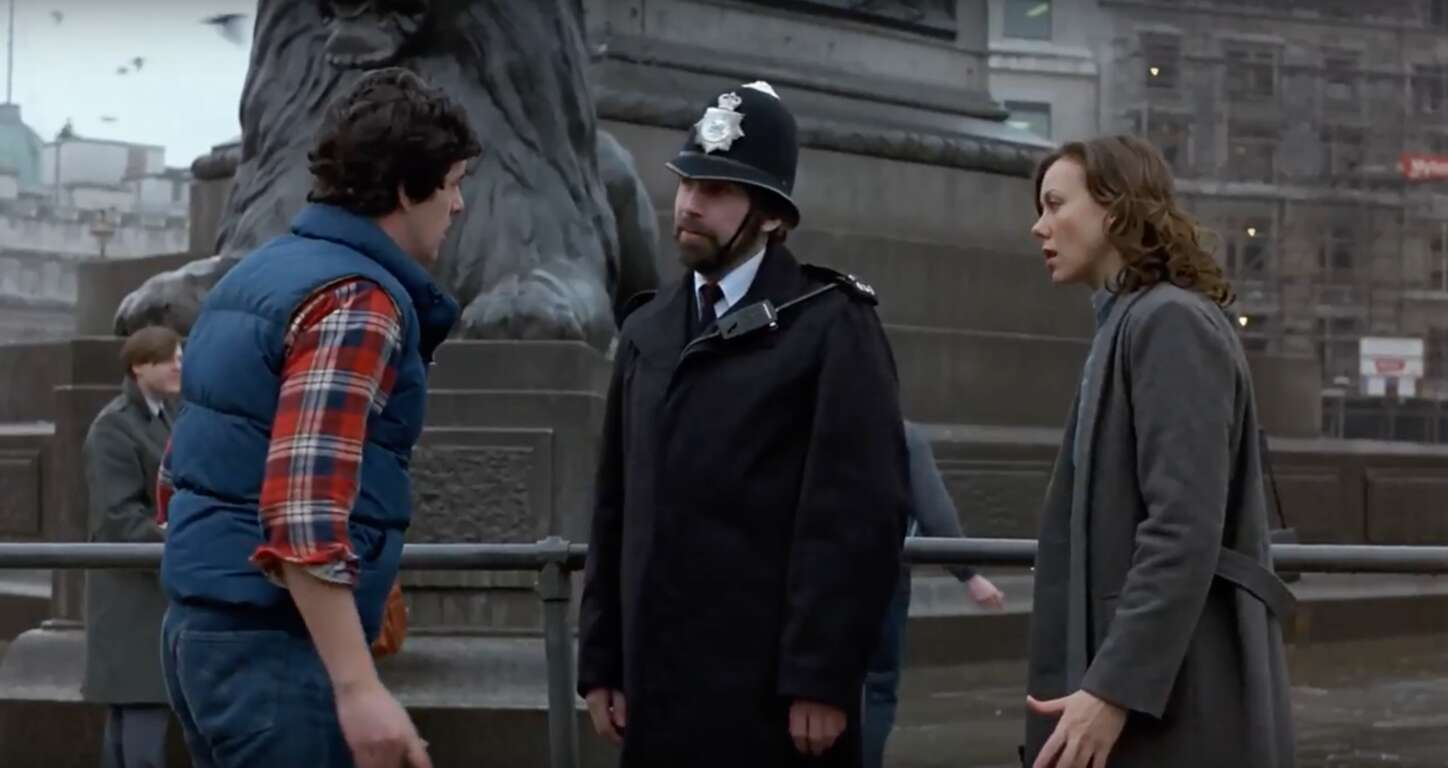David tries desperately to get himself arrested by acting culturally offensive in front of the British police.