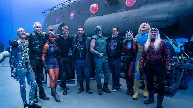 """A behind the scenes photo from """"The Suicide Squad"""" of the bait team"""