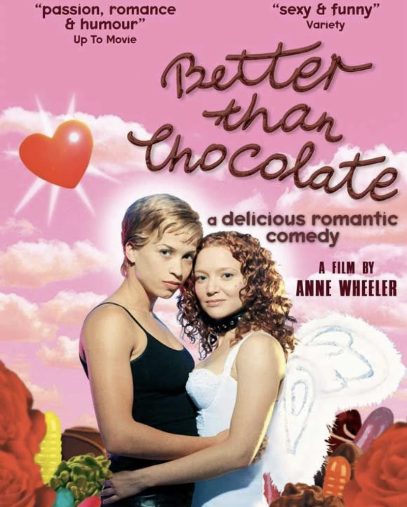 A promotional poster for 'Better Than Chocolate'. Kim (Christina Cox) is pictured to the left. Maggie (Karyn Dwyer) is pictured to the right.