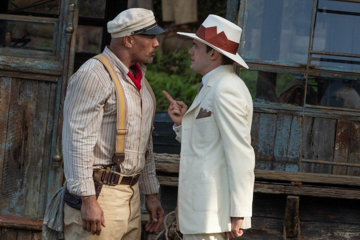 """A still from """"Jungle Cruise"""" of McGregor angrily pointing at Frank"""