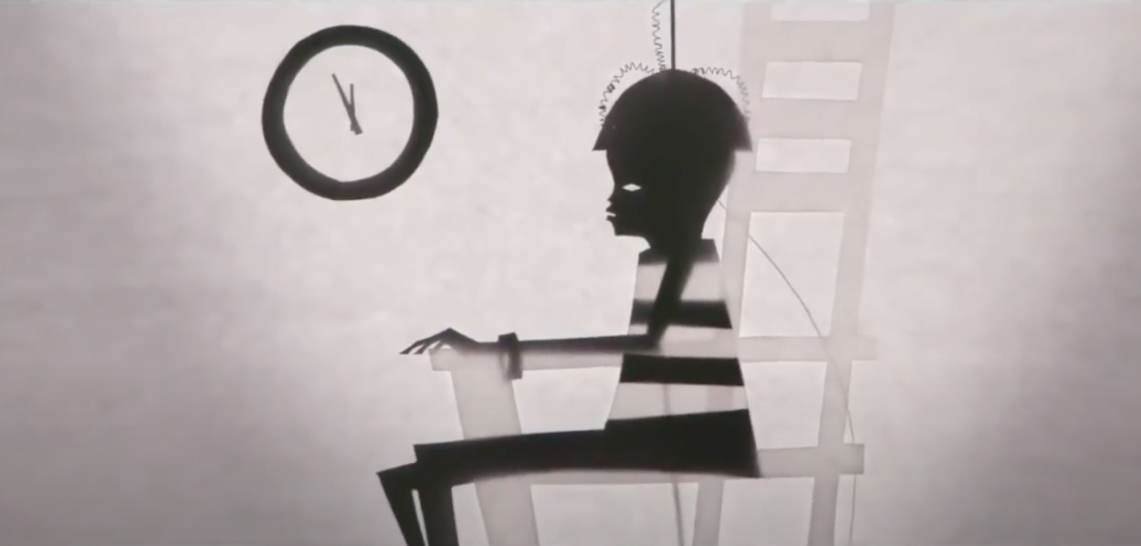 A still from the end credits of 'Candyman' featuring a shadow puppet of a boy given the electric chair