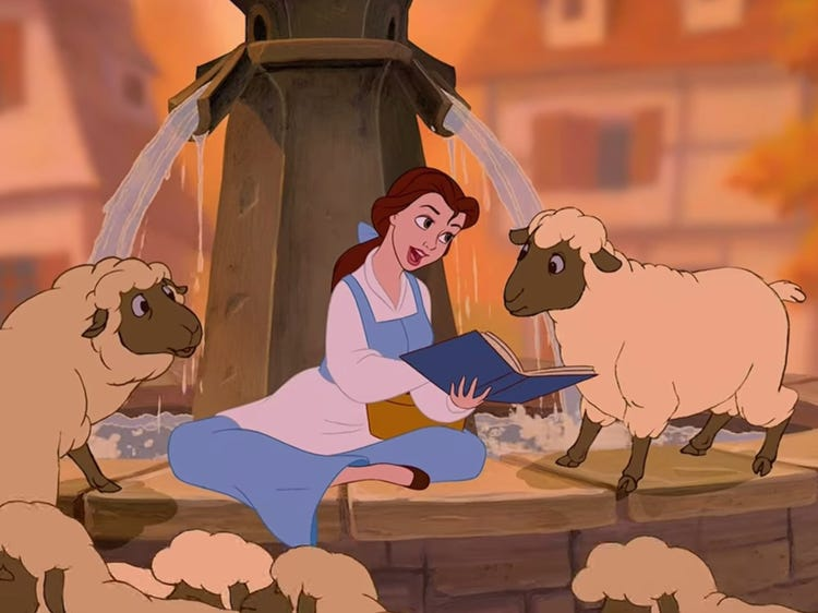 Belle reading and singing to sheep in Beauty and the Beast