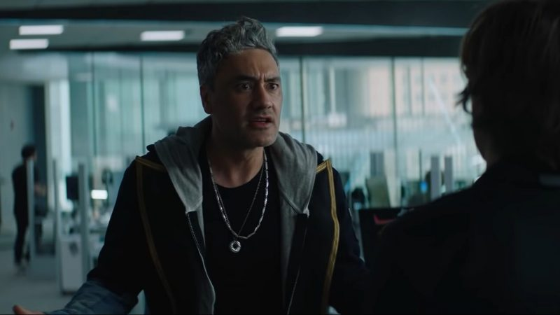 """A still from """"Free Guy"""" of Taika Waititi as Antoine yelling"""