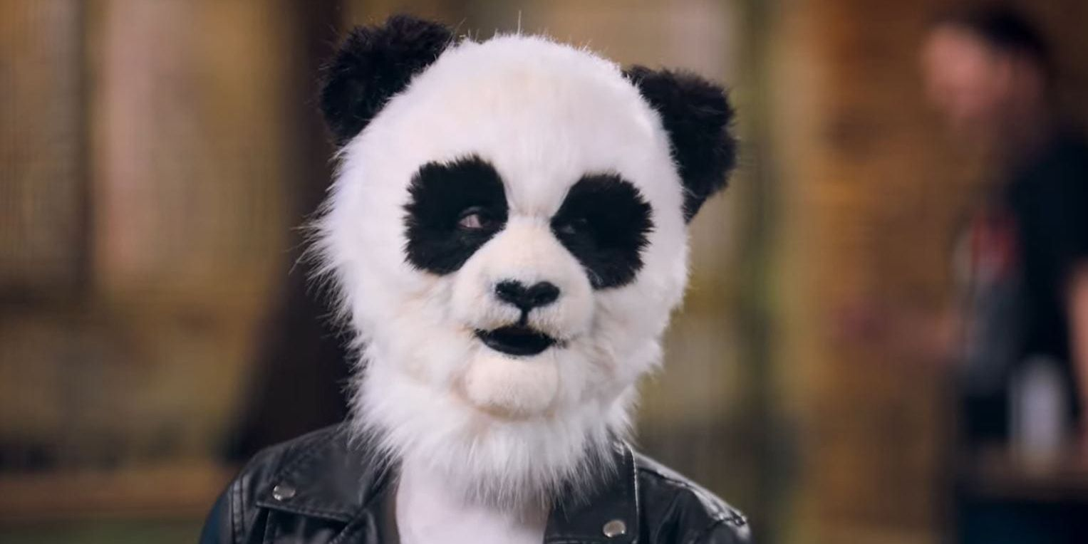 """A still from """"Sexy Beasts"""" of a contestant dressed as a panda"""